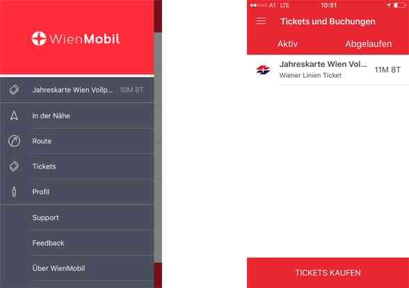 Alle mit dem gleichen Account gekauften Tickets, lassen sich in der Übersicht anzeigen.