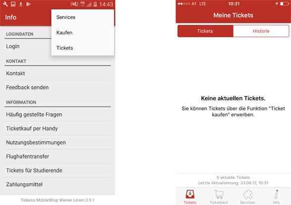 Wiener Linien Ticket-App: Im Punkt Tickets werden alle gekauften Tickets angezeigt.