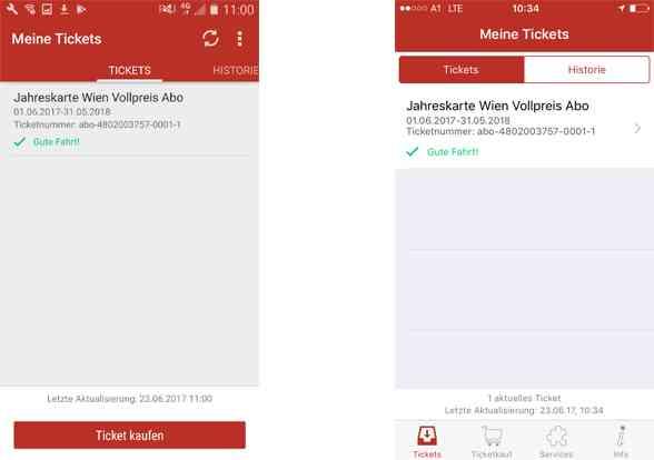 Wiener Linien Ticket-App: Alle mit dem gleichen Account gekauften Tickets, lassen sich in der Übersicht anzeigen.