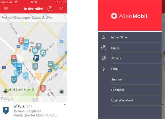 So steigen Sie in die WienMobil-App ein.