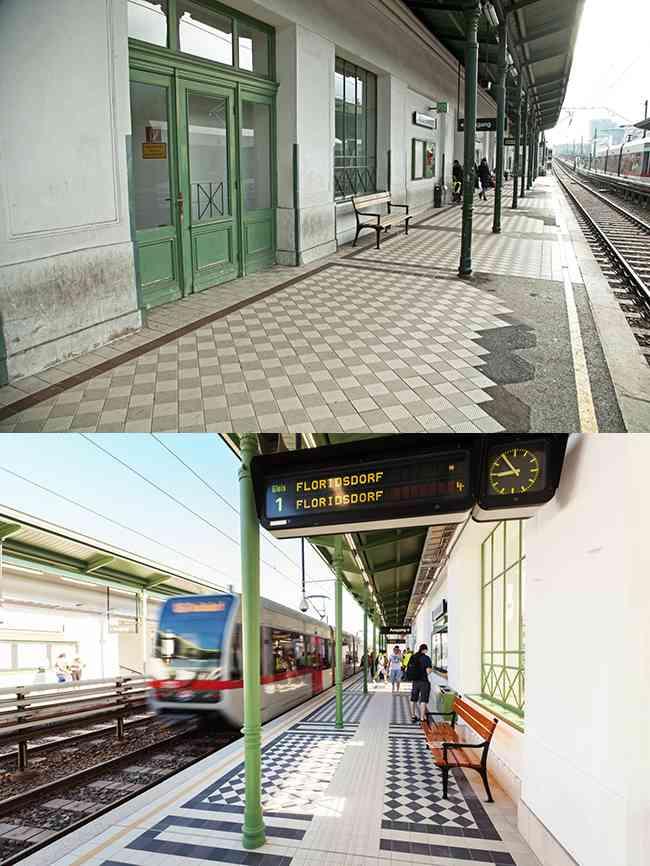 Bahnsteig vor der Sanierung und danach mit originalem Fliesenmuster Otto Wagners und Blindenleitsystem.