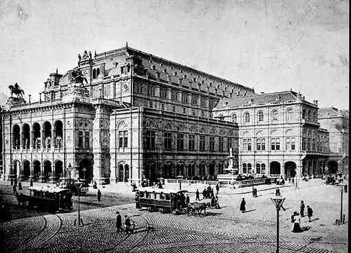 Die Opernkreuzung mit Pferdetramwaywagen um 1890