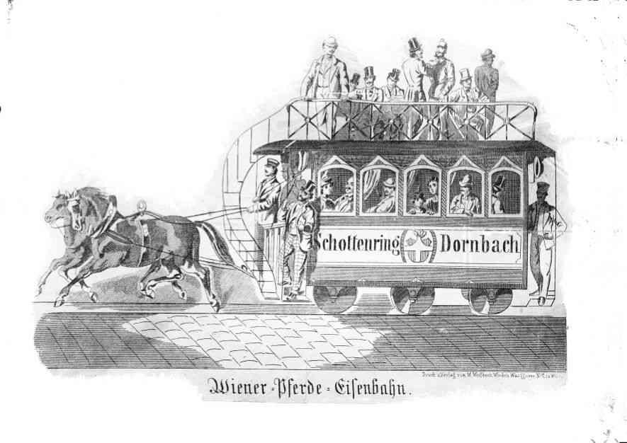 Pferdetramway Schottenring Dornbach Zeichnung