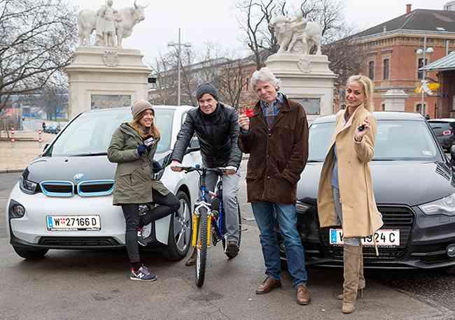 Lisa, René, Felix und Brigitte absolvierten den Test - sie alle mussten vom 3. Bezirk zur S-Bahn-Station Gersthof gelangen - mit unterschiedlichen Verkehrsmitteln sowie multimodal.