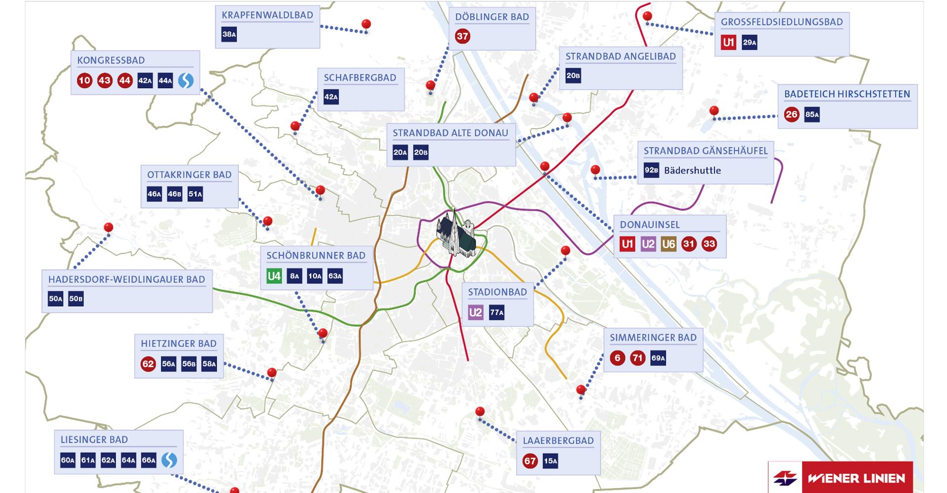 Bäder Karte Wien