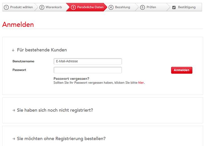 Eine Registrierung im Onlineshop hat viele Vorteile: Sie können z.B. bei Verlust des Tickets, das Ticket erneut ausdrucken. Wichtig: Manche Zahlungsoptionen erfordern eine Registrierung.
