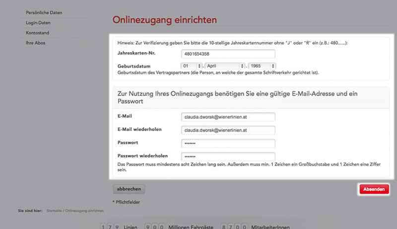 Das Formular muss mit allen Daten befüllt werden, dann können Sie die Registrierung beim Jahreskartenservice abschließen.