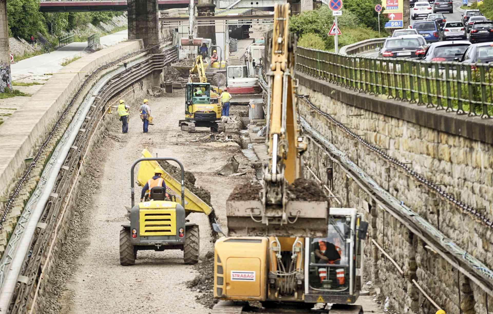 Überblick über Bauarbeiten auf der U4-Trasse