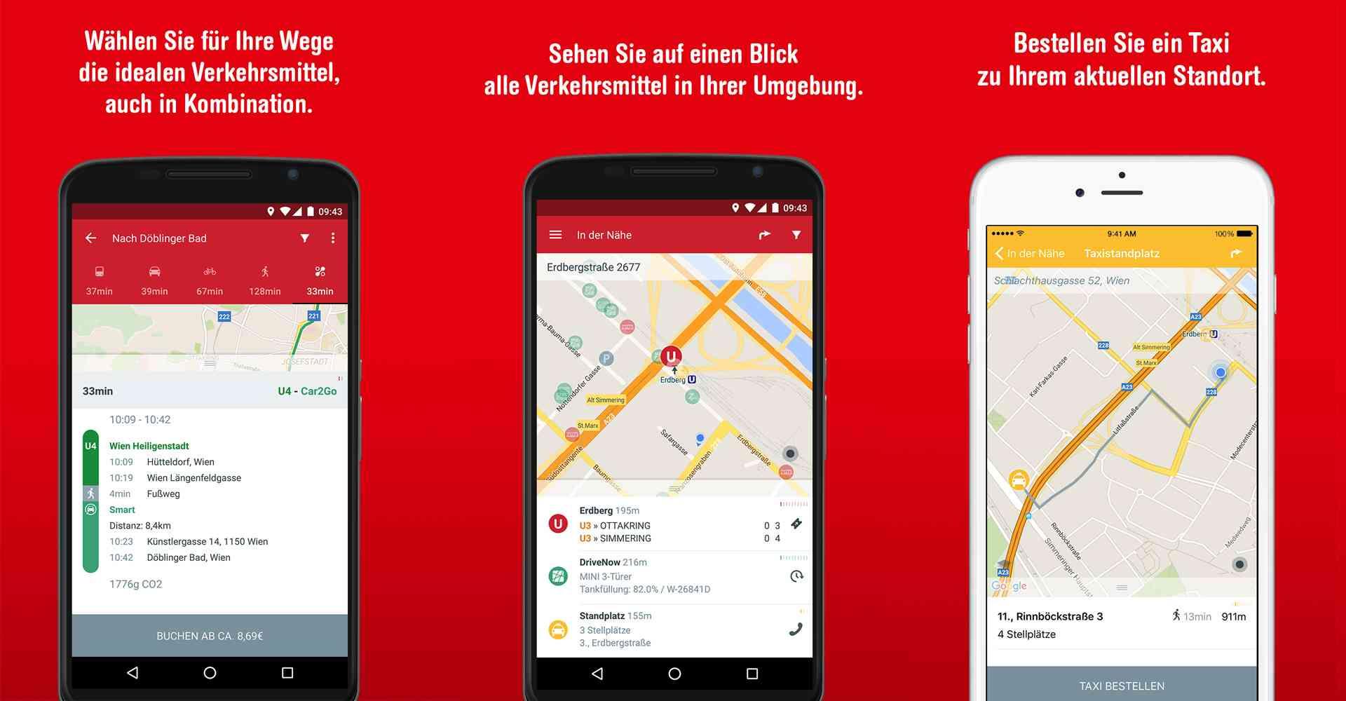 Alle Verkehrsmittel auf der Umgebungskarte plus Routenplanung für alle Verkehrsmittel - das ist WienMobil Lab. zusätzlich können Sie Car- und Bikesharing-Fahrzeuge sowie Taxis reservieren.