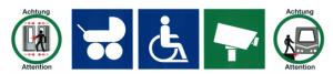 Piktogramme zeigen die richtigen Türen für Kinderwägen an.