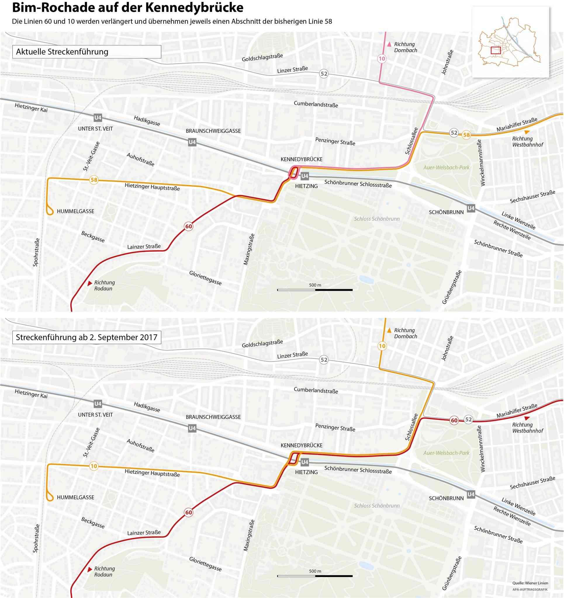 Die Linien 60 und 10 werden verlängert und übernehmen jeweils einen Abschnitt der bisherigen Linie 58.
