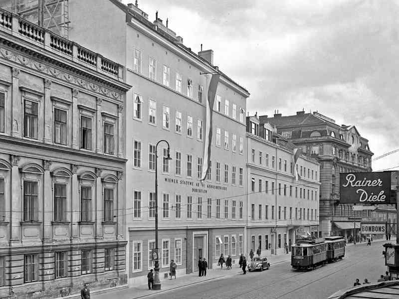 Die Wiener Linien-MitarbeiterInnen fuhren in früheren Zeiten nicht nach Erdberg, sondern in die Favoritenstraße. Dort befand sich die Direktion.