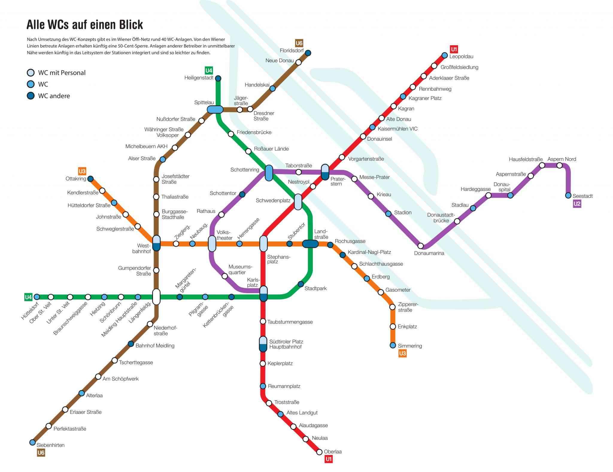 Nach Umsetzung des Konzepts wird es im Bereich des Wiener U-Bahn-Netzes rund 40 WC-Anlagen geben