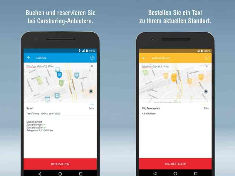 Reservieren Sie mit WienMobil auch ihr Carsharing-Fahrzeug oder buchen ein Taxi.
