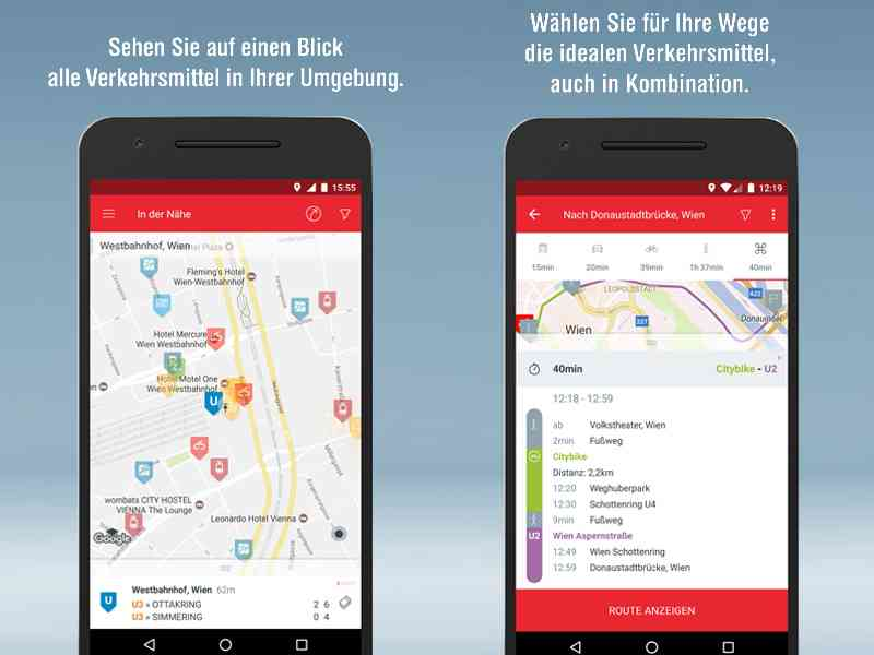 WienMobil zeigt Ihnen alle Verkehrsmittel in Ihrer Nähe und berechnet für Ihre Route die idealen Verkehrsmittel, auch in Kombination.