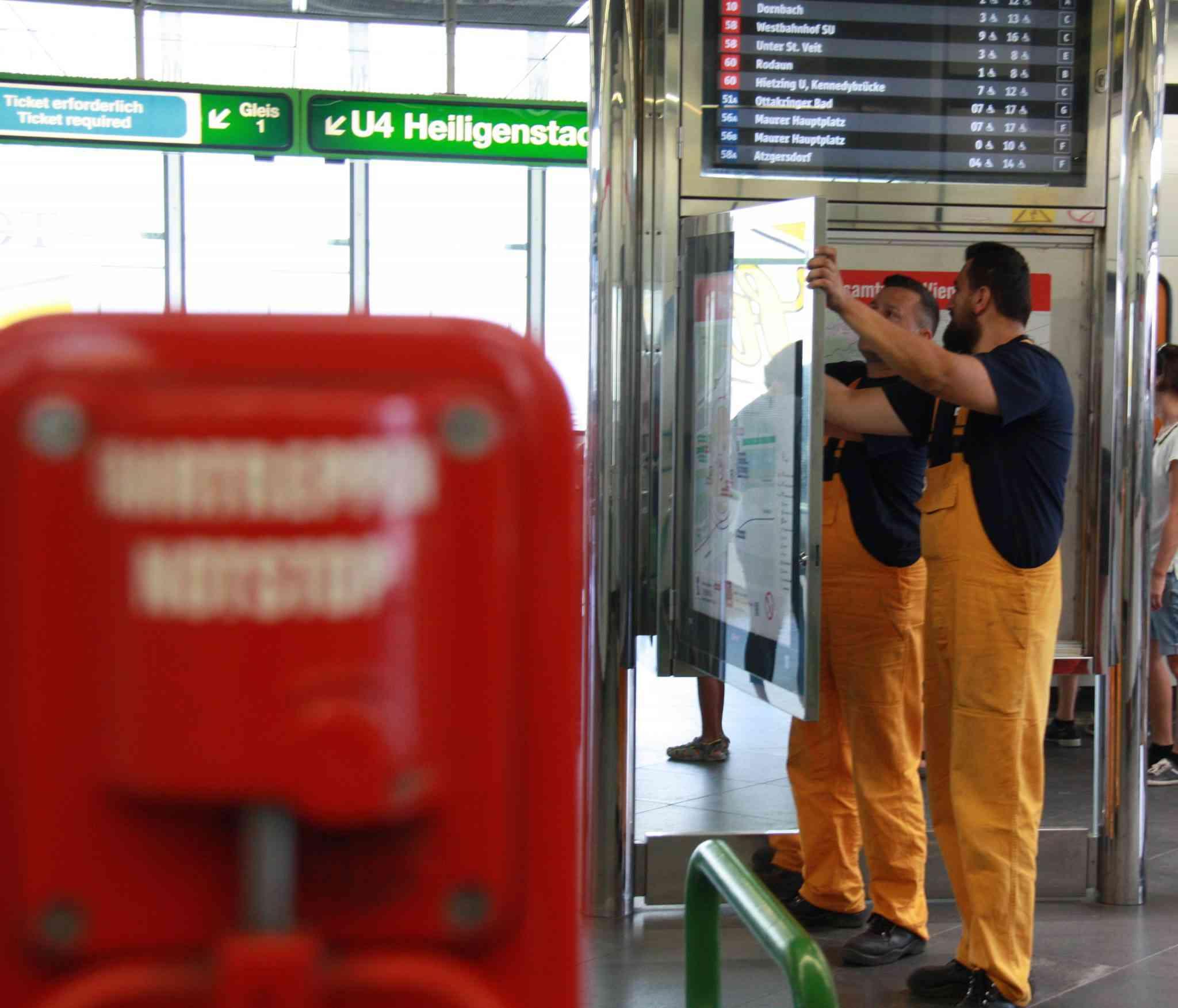 In der Station Hietzing müssen die Informationen zu den Linien 10, 58 und 60 aktualisiert werden.