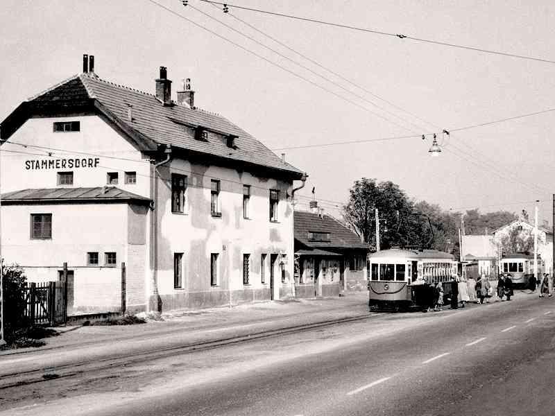 """Hier sieht man einen """"Amerikaner"""" an der Endstelle Stammersdorf im Jahr 1963."""