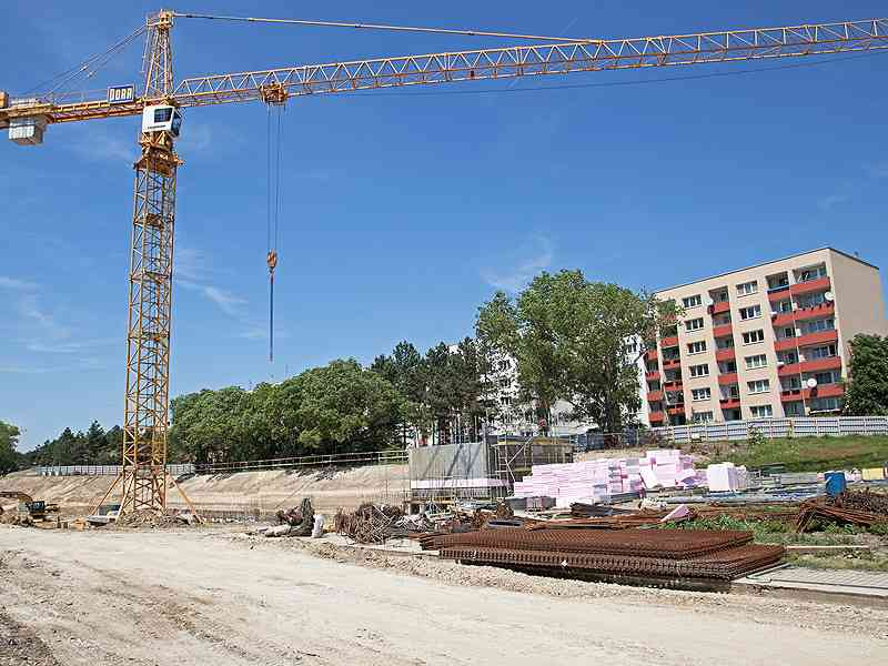Bauarbeiten im Zuge der U1-Verlängerung.