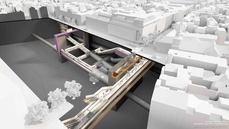 Mit rund 35 Metern Tieflage wird die U2-Station Neubaugasse die tiefste im gesamten U-Bahn-Netz.