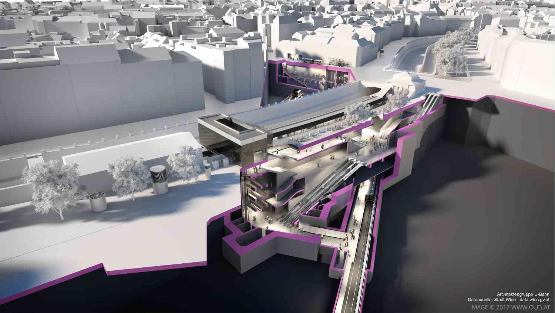 Unter dem Wienfluss trifft die U2 auf die U4 und verwandelt die Station Pilgramgasse in einen wichtigen Umsteigeknoten
