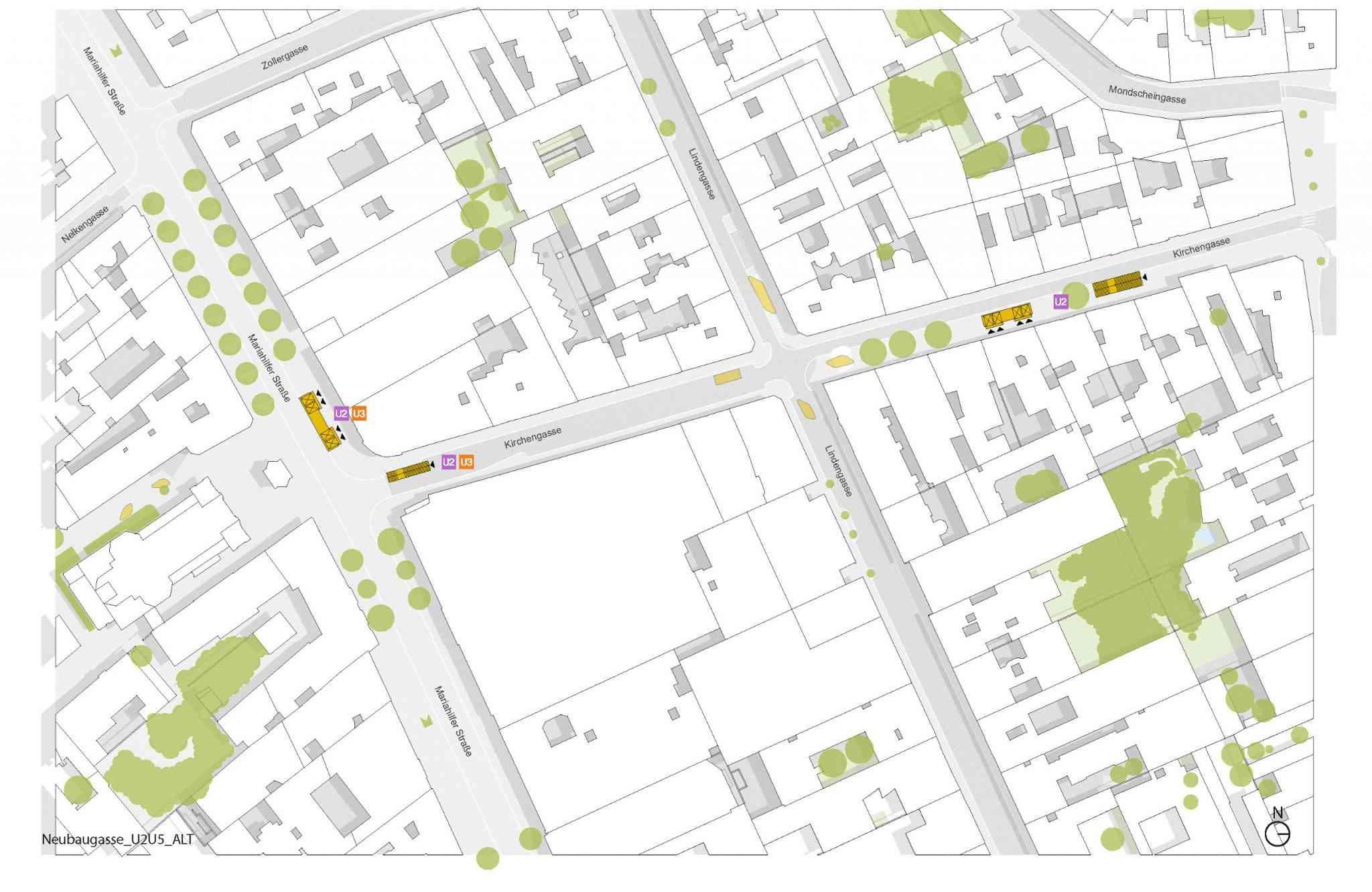 Über den Aufgang in der Kirchengasse Richtung Siebenstern Platz ist auch die Straßenbahnlinie 49 auf kurzem Weg erreichbar.
