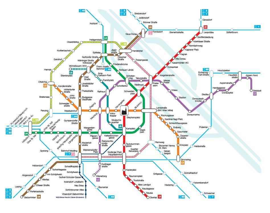 U-Bahn-Netzplan mit dem Linienkreuz U2/U5
