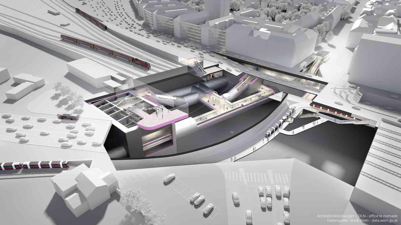 Die U2-Station entsteht in rund 30 Metern Tiefe unter der bestehenden Straßenbahnstation der Linien 1, 6, 18 und 62 und der Wiener Lokalbahn.