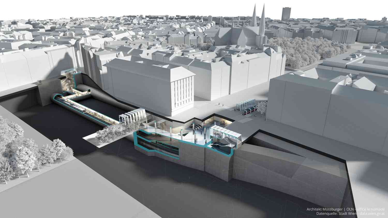 Die Station Frankhplatz wird komplett im neuen Liniendesign der U5 realisiert.