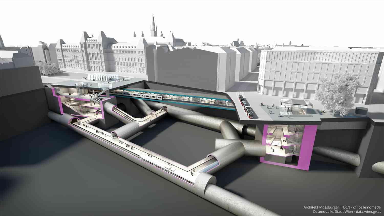 Die U2 bekommt ab der Station Schottentor eine neue Strecke und wird beim Rathaus unter ihren bisherigen Bahnsteigen queren, wo dann die vollautomatische U5 unterwegs sein wird.