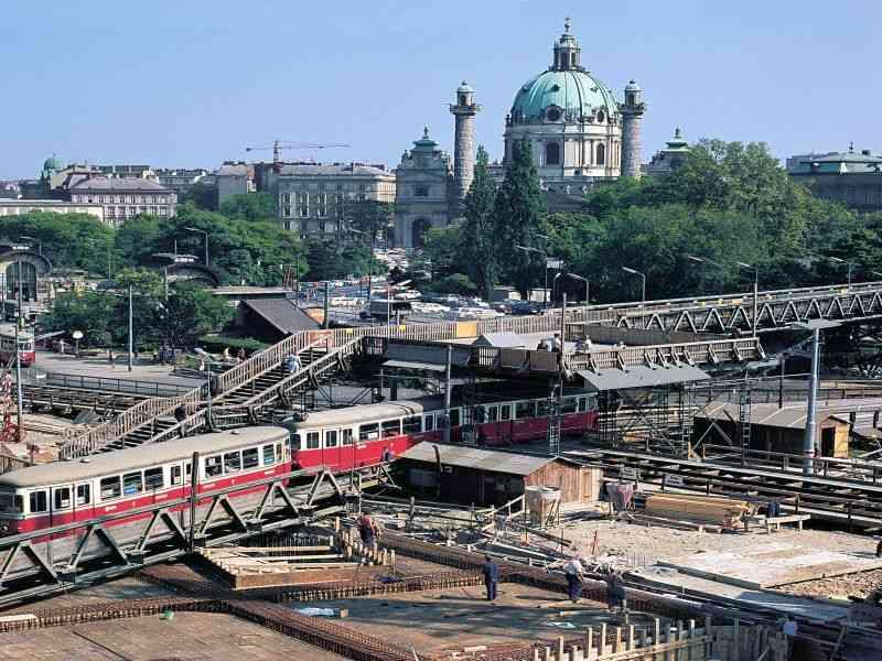 1969 Freier Blick auf die Baustelle von der Marek-Loge aus.