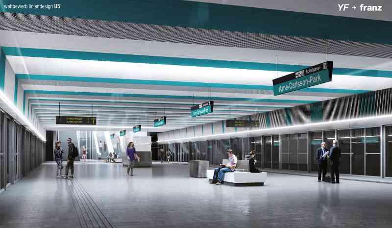 Die U5, in türkisem Liniendesign, wird die erste vollautomatische U-Bahn Wiens sein.