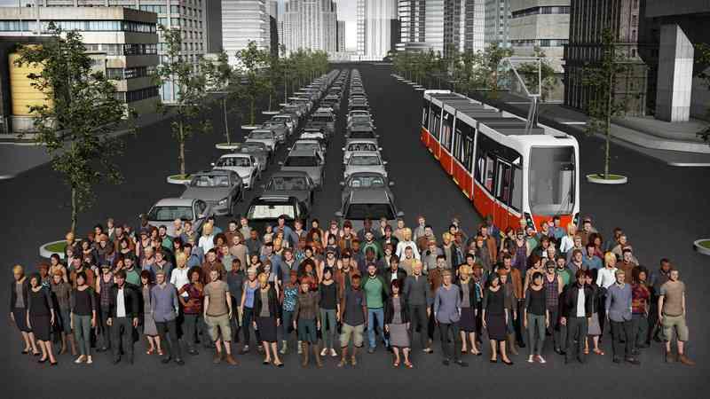 Wie auf der Grafik ersichtlich haben 150 Personen in 125 Autos Platz, oder in nur einer Straßenbahn.
