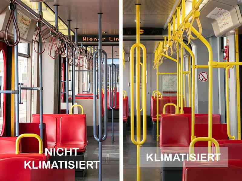 In einem klimatisierten U6-Wagen sind ALLE Haltestangen gelb. An der Decke sind Auslassdüsen für die gekühlte Luft. In einem Wagen ohne Klimaanlage gibt es (auch) graue Haltestangen. An der Decke sind keine Düsen für die kühle Luft.