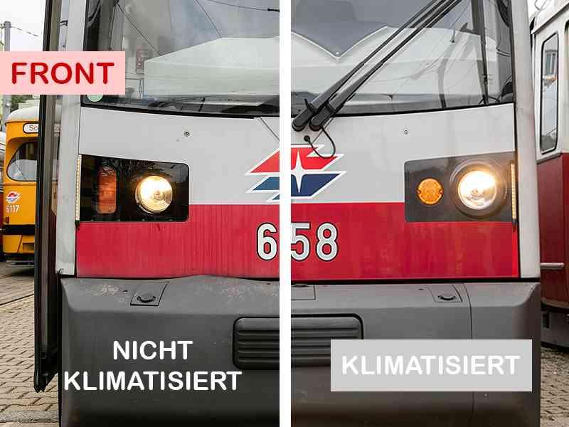 Vorn sind die Blinker beim klimatisierten ULF rund und innen angeordnet. Beim ULF ohne Klimaanlage sind sie rechteckig und liegen außen.