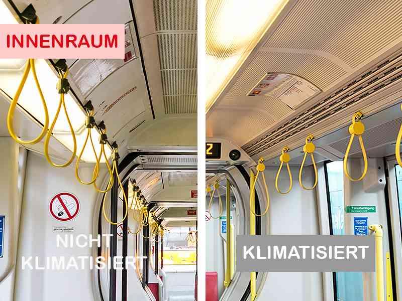 Im klimatisierten ULF sind innen oberhalb der Sitze Auslassdüsen für die gekühlte Luft. Die Lampen sind mittig an der Decke.