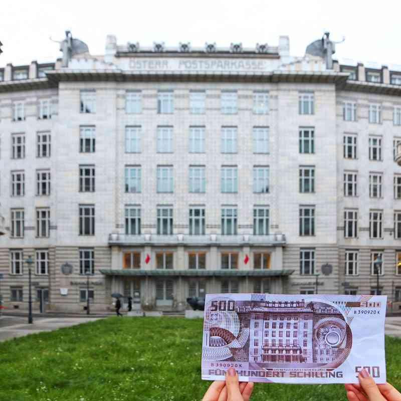 Otto Wagners Postsparkasse ist auf der 500 Schilling Banknote abgebildet.