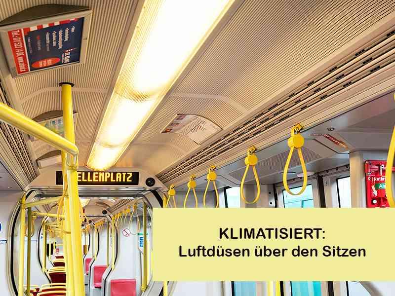 Innenraum eines klimatisierten ULF: Luftdüsen über den Sitzen