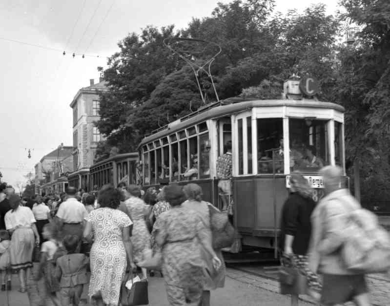Die Linie C unterwegs auf ihrer Strecke, Mitte der 50er Jahre.
