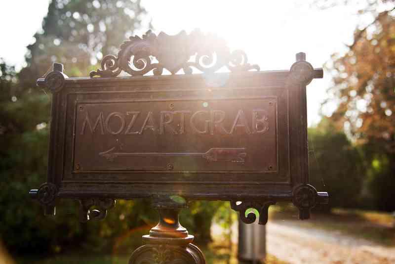 Schilder weisen den Weg zum Mozartgrab.