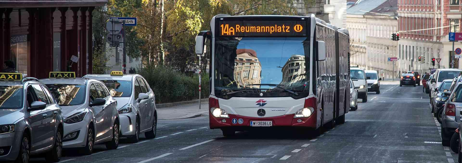 Der 14A fährt von der Neubaugasse bis zum Reumannplatz.