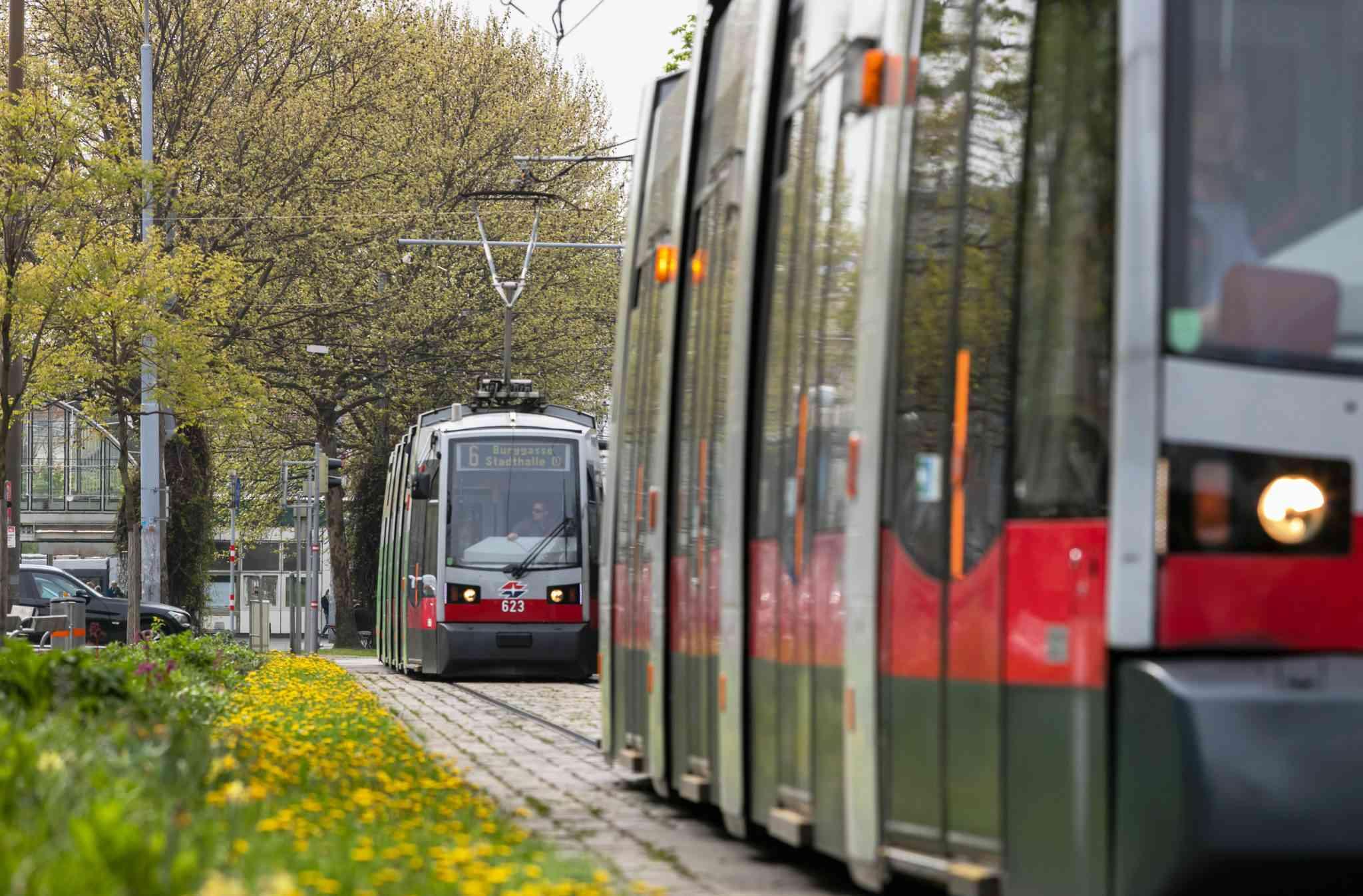 Linie 6 am Neubaugürtel Richtung Burggasse Stadthalle.