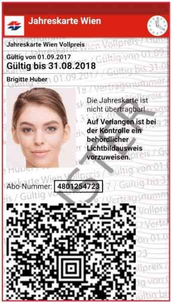 So wird Ihre Jahreskarte in der WienMobil-App angezeigt.