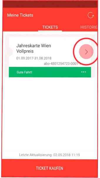 In der WienMobil-App werden Tickets wie die Jahreskarte angezeigt.
