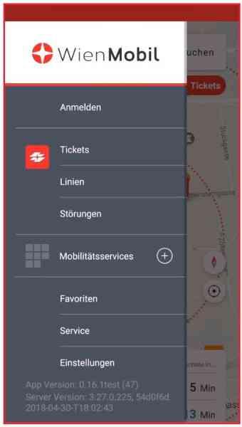 So sieht das ausgeklappte Menü der WienMobil-App aus.