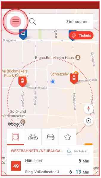 In der linken Ecke der WienMobil-App befindet sich das Menü.