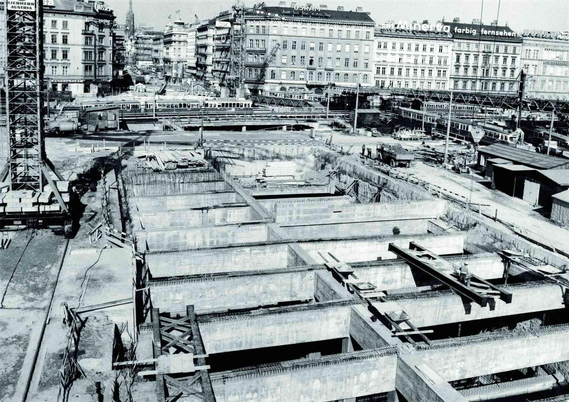 50 Jahre U-Bahn-Bau in Wien: Baustelle Karlsplatz 1972