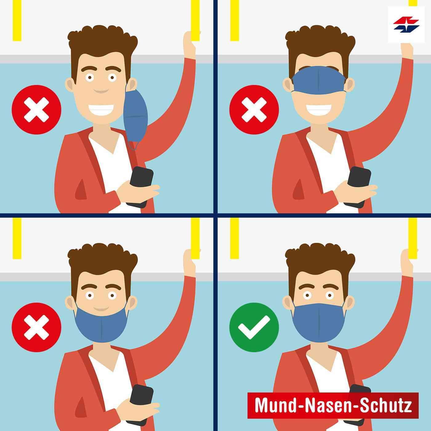 So trägt ihr euren Mund-Nasen-Schutz der Maskenpflicht entsprechend richtig.