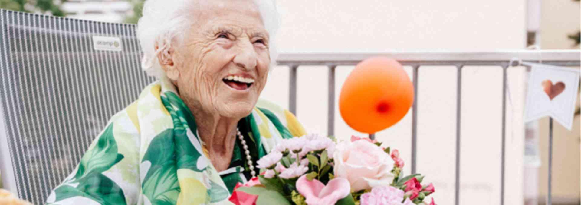 Emma Wenda an ihrem 106. Geburtstag
